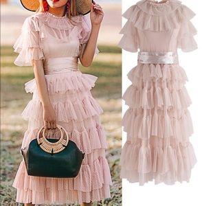 Chic wish tiered ruffle pink dress